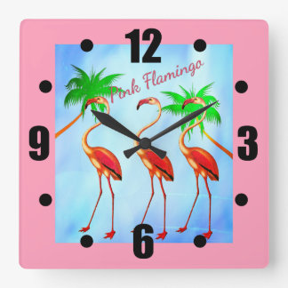 Funky Pink Flamingos Palm Trees Blue Sky Square Wall Clock