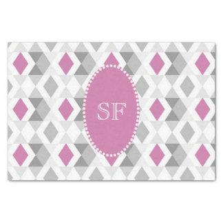 Funky Pink Gray Diamond Monogram Tissue Paper