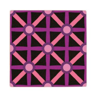 Funky Pink & Purple Pattern Wood Coaster