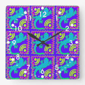 Funky Polka Dot Lizard Pattern Animal Designs Square Wall Clock