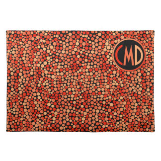 Funky Polka Dot Pattern in Red, Orange and Yellow Placemat
