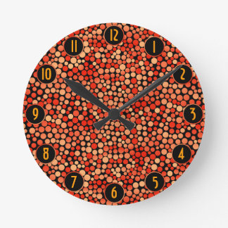 Funky Polka Dot Pattern in Red, Orange and Yellow Round Clock