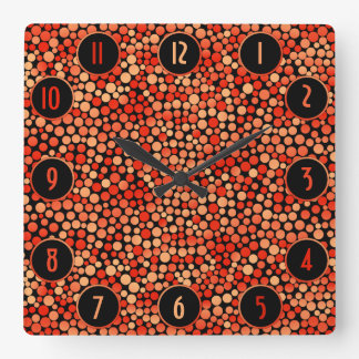 Funky Polka Dot Pattern in Red, Orange and Yellow Square Wall Clock