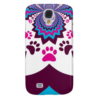 Funky Puppy Dog Paw Prints Purple Teal ZigZags Galaxy S4 Case