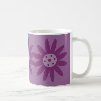 Funky purple cartoon flowers mug