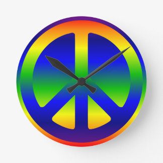 Funky Rainbow Peace Symbol Clocks