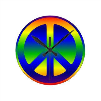 Funky Rainbow Peace Symbol Round Clock
