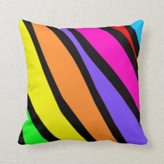 Funky Rainbow Zebra Stripes Plush Throw Pillow