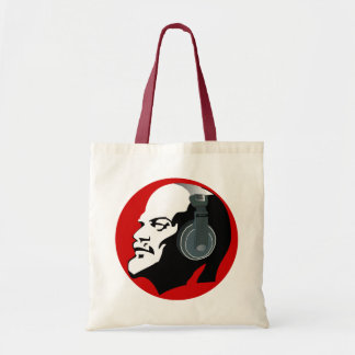 FUNKY RED LENIN WITH HEADPHONES DESIGN TOTE BAG