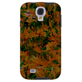 Funky Retro Abstract Tangerine Orange Green Galaxy S4 Case