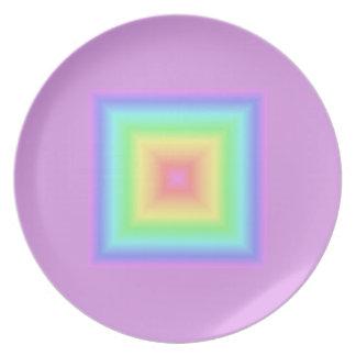 Funky Retro Pastel Rainbow Geometric Abstract Blur Dinner Plates
