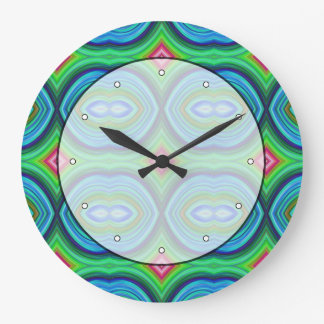 Funky Retro Pattern. Blue, Green, Pink and Multi. Large Clock