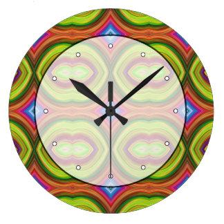 Funky Retro Pattern. Green, Orange and Multi. Large Clock