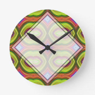 Funky Retro Pattern. Green, Orange and Multi. Round Clock