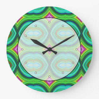 Funky Retro Pattern. Green, Turquoise and Multi. Large Clock