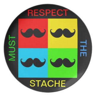 Funky Retro Pop Art Mustache Moustache Stache Dinner Plates