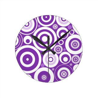 Funky Retro Purple Circles Round Clock