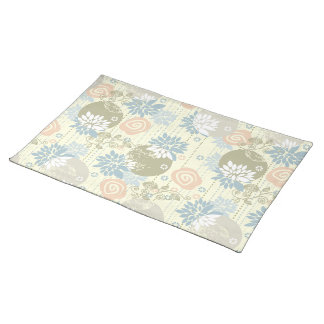 Funky Screen Print Flowers in Pastel Colors Placemat