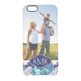 Funky Seashell Pattern| Your Photo & Monogram Clear iPhone 6/6S Case