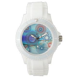 Funky Spirograph Geometric Pattern Blue Design Watch