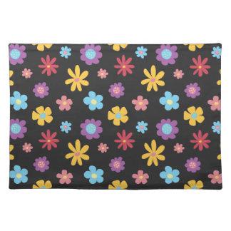 Funky Spring Flowers (Dark) Pattern Placemat