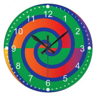 Funky Swirls Pattern Color Splash Clocks