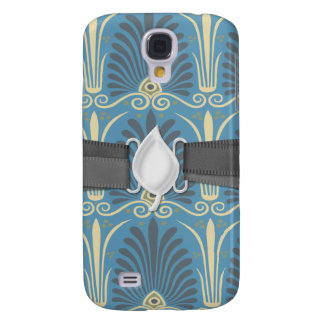 funky taupe and blue ancient damask-01 galaxy s4 case
