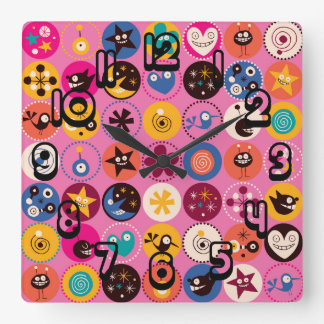 Funky Trendy Retro Abstract Pattern Square Wall Clock