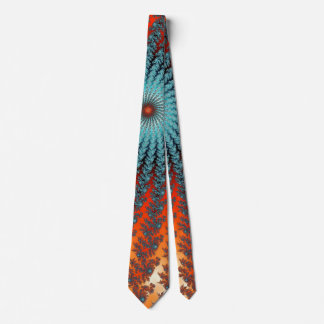 Funky Turquoise And Orange Spiral Fractal Tie