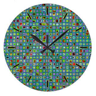 Funky Turquoise Textured Mosaic Tiles Pattern Clocks