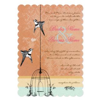 Funky Vintage Bird Cage Wedding Invitations