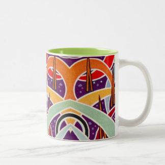 Funky Vintage Geometric Pattern Purple Two-Tone Coffee Mug