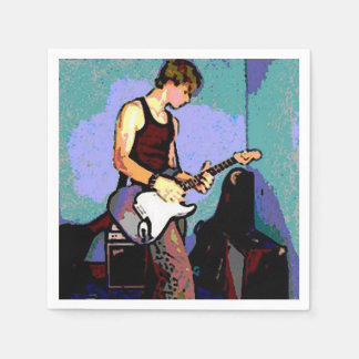 Funky Whiteboy Guitar Player Paper Serviettes