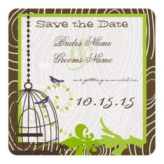 Funky Wood Grain Bird Cage Wedding Save the Date 13 Cm X 13 Cm Square Invitation Card