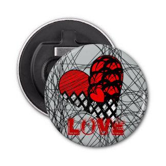 Funky Zen Tangle Red and Black Love Heart Design Bottle Opener