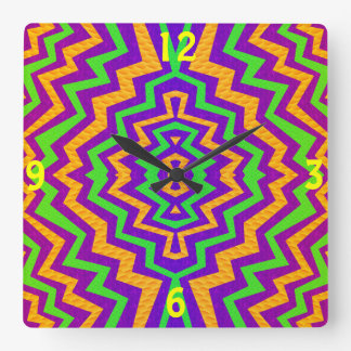 Funky Zig~Zag Square Wall Clock
