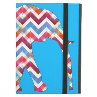 Funky Zigzag Chevron Elephant on Teal Blue iPad Air Cover