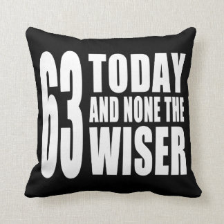 Funny 63rd Birthdays : 63 Today and None the Wiser Throw Pillow