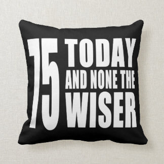 Funny 75th Birthdays : 75 Today and None the Wiser Throw Pillows