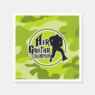 Funny Air Guitar; bright green camo, camouflage Disposable Napkins