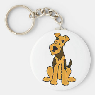 Funny Airedale Dog Puppy Key Ring