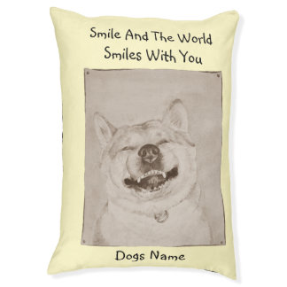 funny akita dog smiling picture with happy slogan pet bed