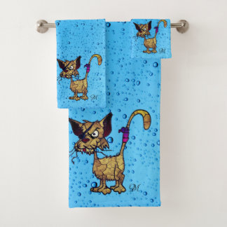 Funny and Angry Looking Cat With Eye Patch Bath Towel Set