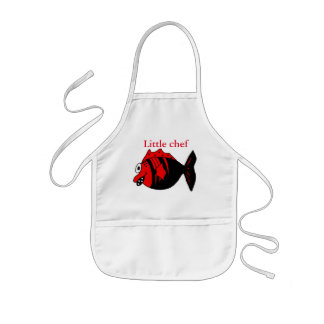 Funny and cute black and red fantasy fish kids apron