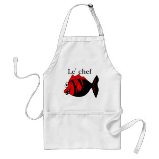 Funny and cute black and red fantasy fish standard apron