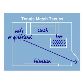Funny and original tennis match tactics, postcard