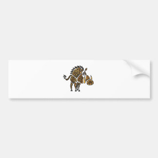 Funny Artistic Warthog Abstract Art Bumper Sticker