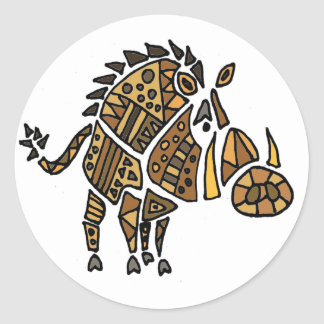 Funny Artistic Warthog Abstract Art Classic Round Sticker