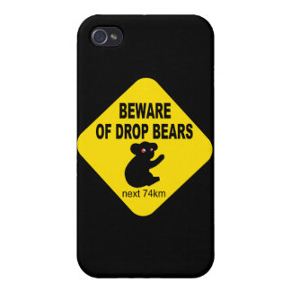 Funny Australian Sign. Beware of Drop Bears. iPhone 4 Cases
