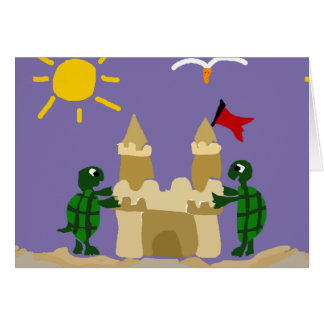 Funny Baby Turtles Building Sand Castle Card